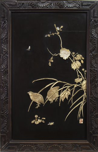 Lot 972-A JAPANESE IVORY AND MOTHER OF PEARL PICTURE DEPICTING PARTRIDGES