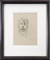 Lot 784 - BLIND BOY, A CHARCOAL BY PETER HOWSON