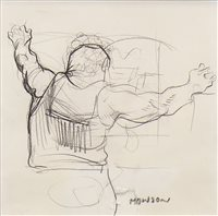 Lot 798 - MONSTER, A PENCIL SKETCH BY PETER HOWSON