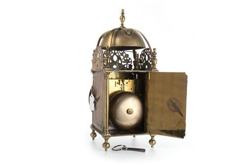 Lot 1444 - A BRASS LANTERN CLOCK OF 17TH CENTURY DESIGN