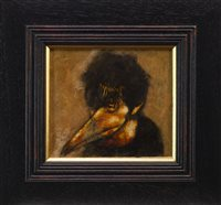 Lot 822 - SELF PORTRAIT WITH PLAGUE DOCTOR MASK A MIXED MEDIA BY FRANK TO