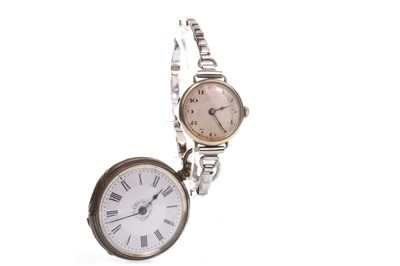 Lot 769-A LADY'S MANUAL WIND WRIST WATCH ALONG WITH A POCKET WATCH