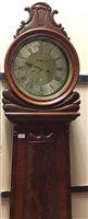 Lot 1447 - A 19TH CENTURY SCOTTISH MAHOGANY DRUMHEAD LONGCASE CLOCK