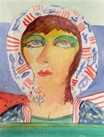 Lot 809 - WOMAN OF THE SEA, A WATERCOLOUR BY JOHN BELLANY