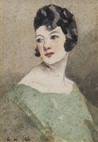 Lot 474-LADY IN GREEN, A WATERCOLOUR BY GLASGOW BOY, GEORGE HENRY