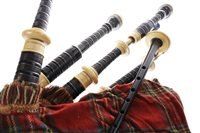 Lot 1454 - A SET OF AFRICAN BLACKWOOD BAGPIPES