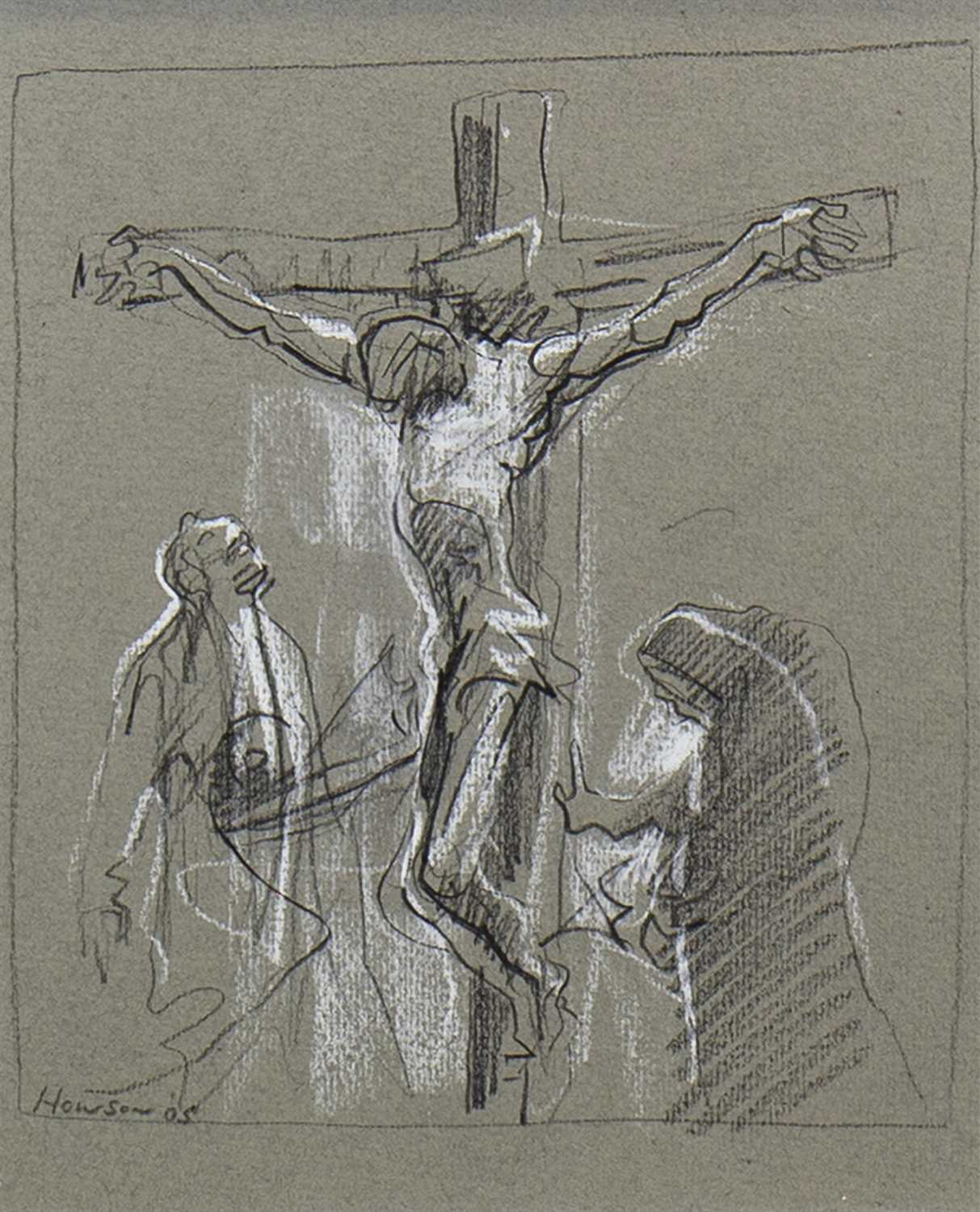 Lot 502-JESUS ON THE CROSS, A CHALK BY PETER HOWSON