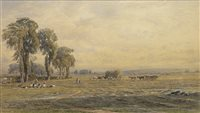 Lot 426-AN EAST LOTHIAN HARVEST SCENE, A WATERCOLOUR BY GEORGE GRAY