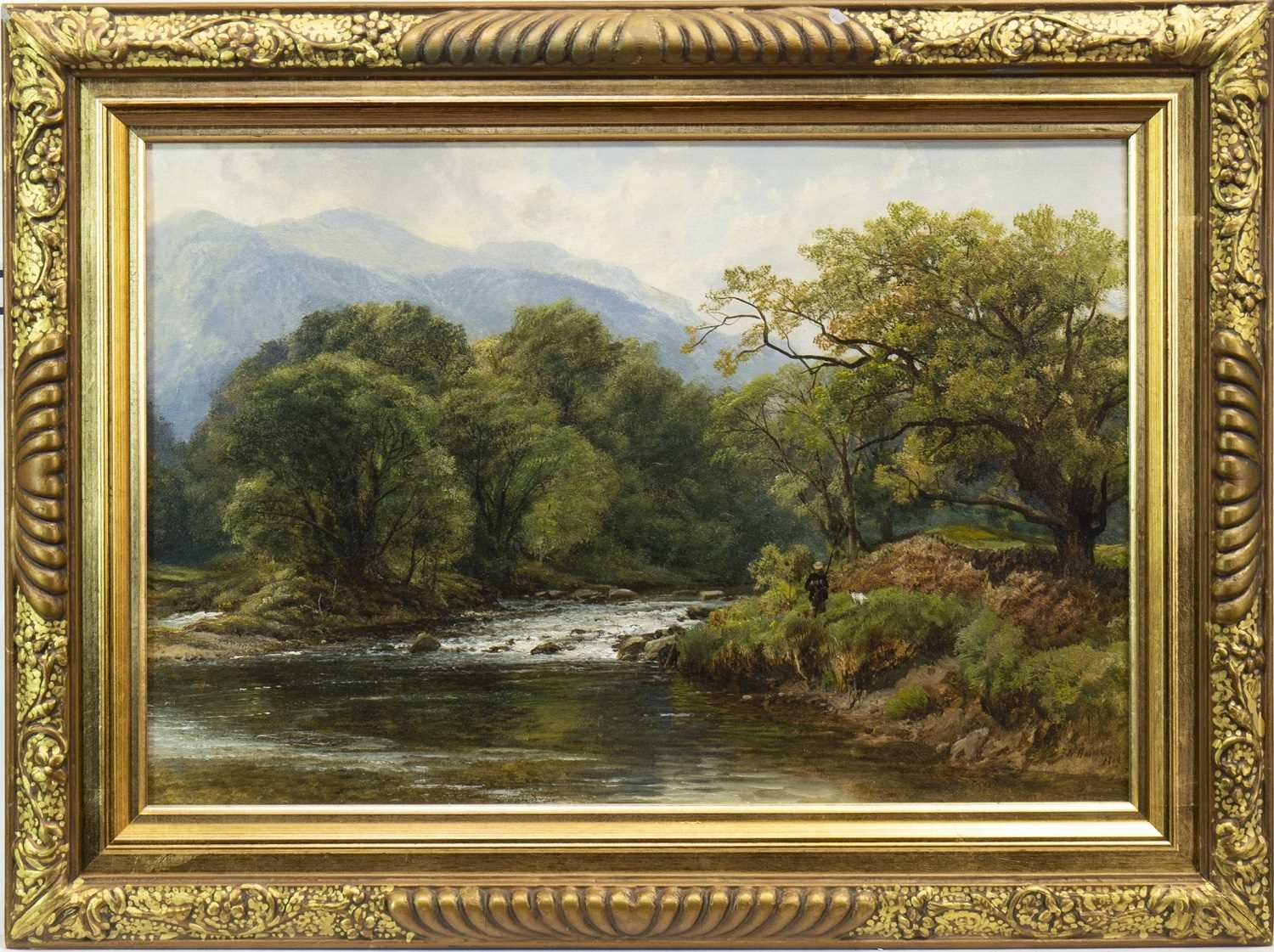 Lot 410-SALMON ANGLER AND HIS DOG ON THE RIVER TAY,, AN OIL BY FREDERICK WILLIAM HULME
