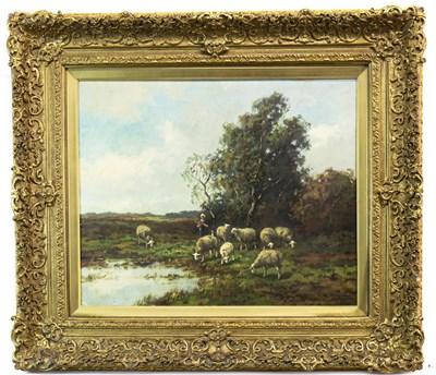 Lot 417-SHEEP WATERING BY WOODLANDS, AN OIL BY CHARLES VERSCHUUREN