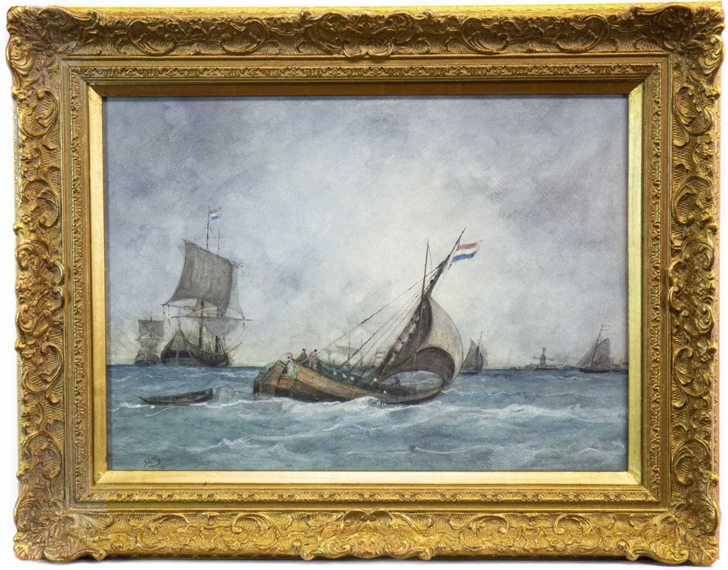 Lot 418-SAILBOATS OFFSHORE IN ROUGH SEAS