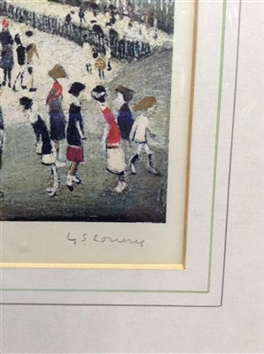 Lot 504-PEEL PARK, A PENCIL SIGNED COLOUR PRINT BY LOWRY