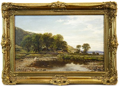 Lot 421-FIGURES BY A STREAM, AN OIL BY JAMES DOCHARTY