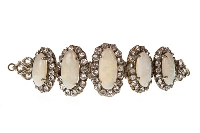 Lot 7-AN OPAL AND WHITE GEM SET BRACELET SECTION