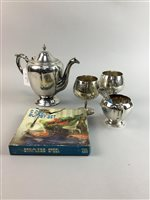 Lot 21-A SILVER PLATED TEA SERVICE AND A COLLECTION OF PLATED ITEMS