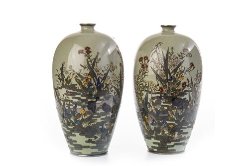 Lot 960-A GROUP OF FOUR CLOISONNÉ VASES