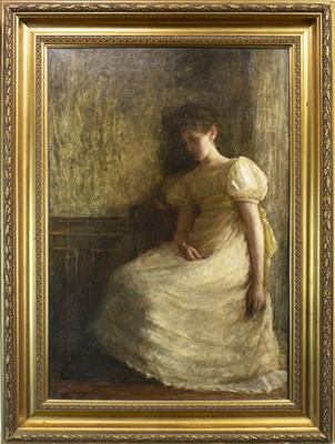 Lot 425-YOUNG LADY IN A WHITE DRESS, AN OIL BY ALEXINA MACRITCHIE