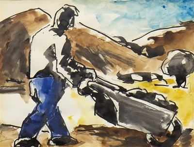 Lot 508-MAN WITH WHEELBARROW, A WATERCOLOUR BY JOSEF HERMAN