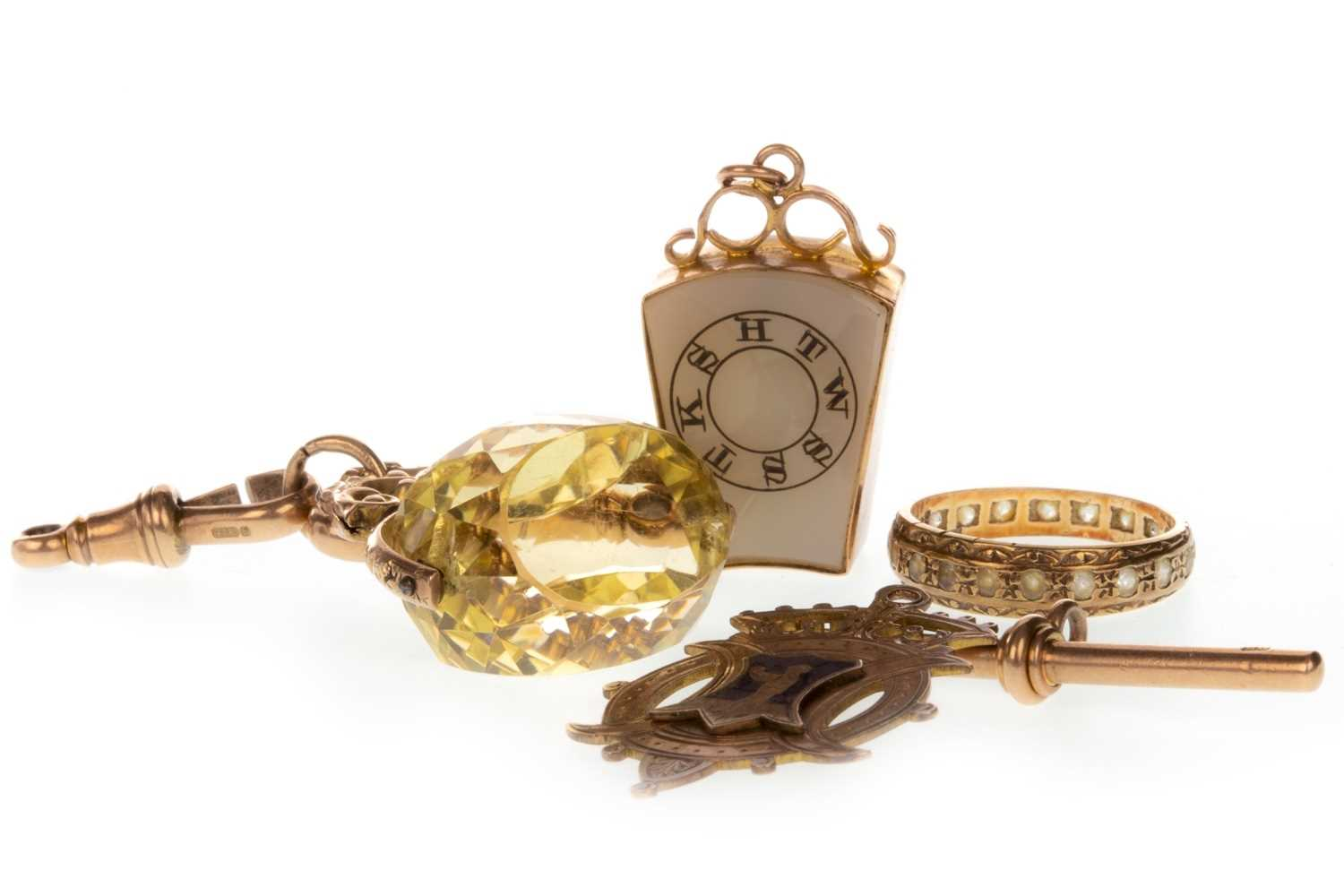 Lot 24-A CITRINE SET GOLD FOB ALONG WITH OTHER ITEMS