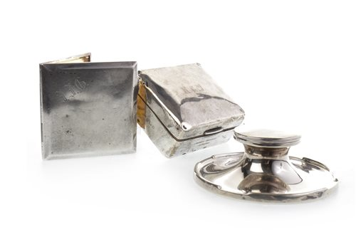 Lot 841-AN EDWARD VIII SILVER CIGARETTE BOX, SILVER CIGARETTE CASE AND SILVER CAPSTAN INKSTAND