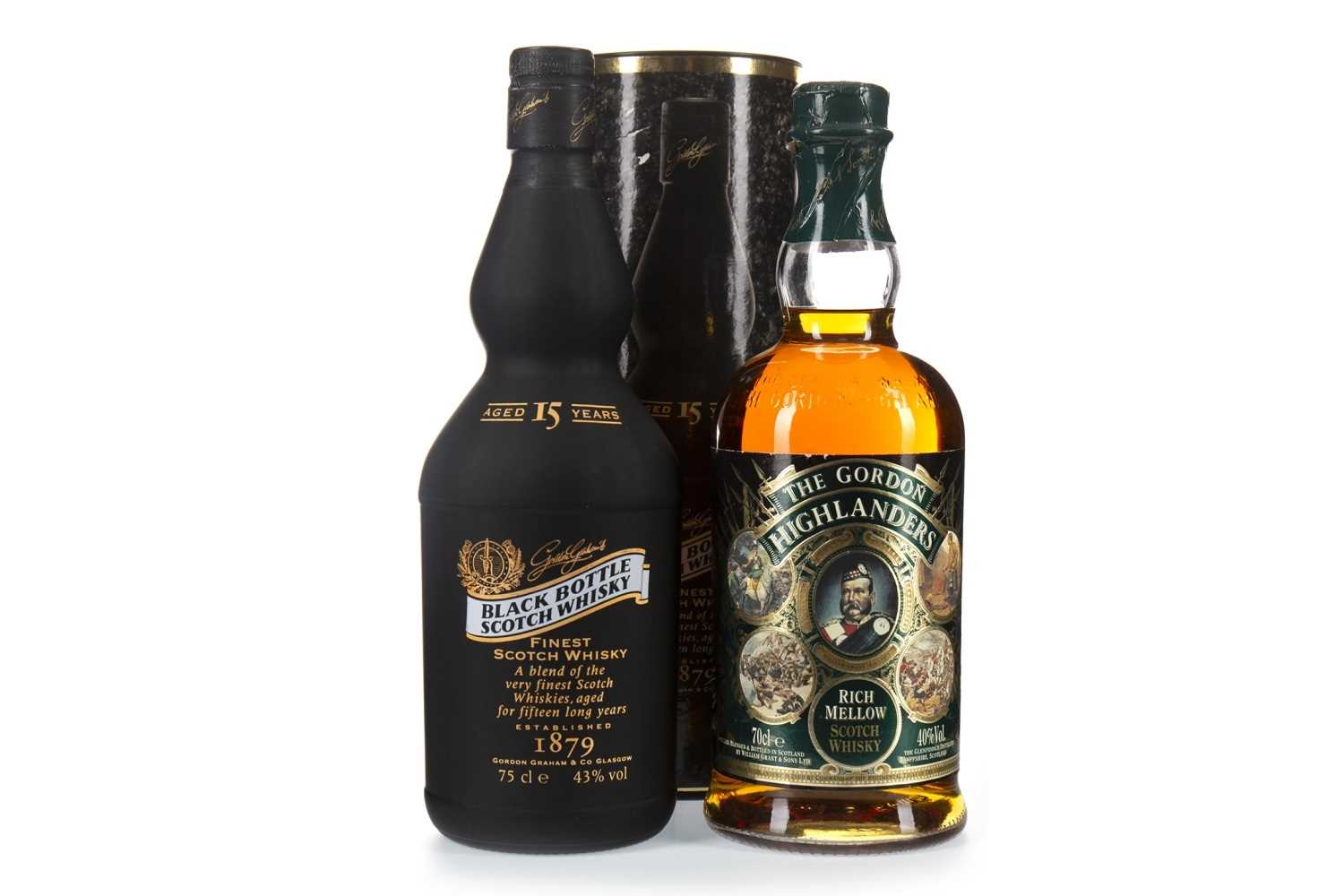 Lot 401-BLACK BOTTLE AGED 15 YEARS & GORDON HIGHLANDER