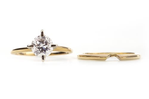 Lot 136-DIAMOND SOLITAIRE RING AND SHAPED WEDDING BAND