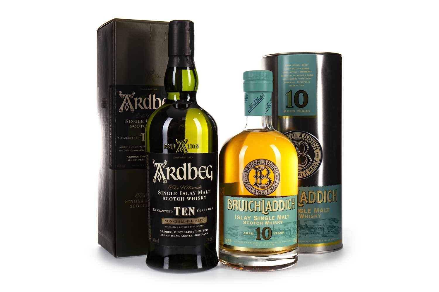Lot 310-ARDBEG 10 YEARS OLD AND BRUICHLADDICH 10 YEARS OLD