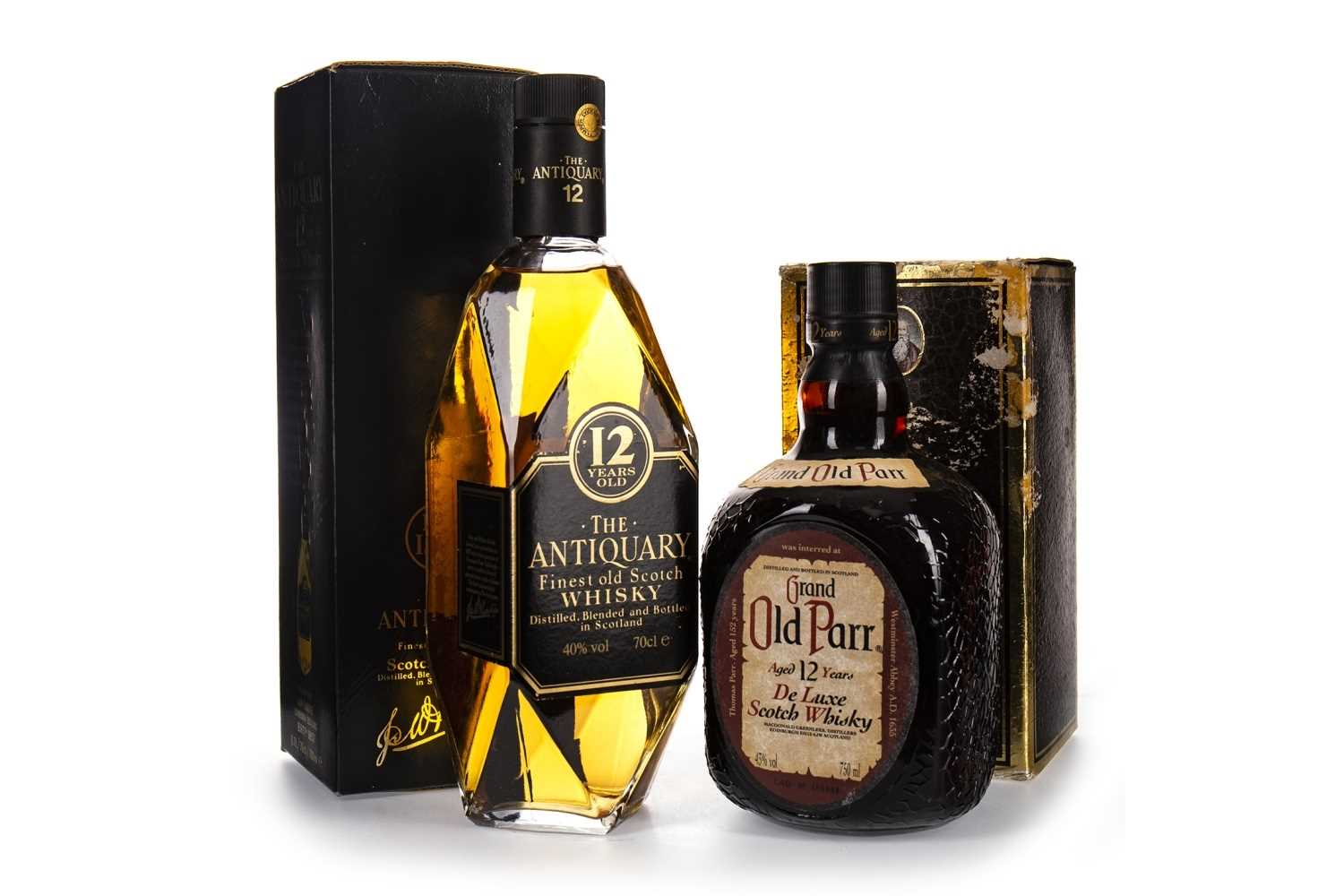Lot 408-ANTIQUARY 12 YEARS OLD & GRAND OLD PARR 12 YEARS OLD