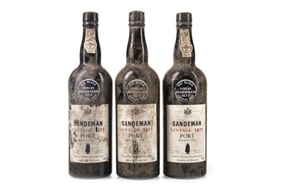 Lot 2001-THREE BOTTLES OF SANDEMAN 1977 PORT