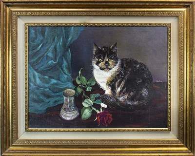 Lot 602-STILL LIFE WITH CAT ON A TABLE