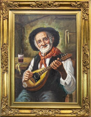 Lot 605-ELDERLY GENTLEMAN PLAYING A MANDOLIN, AN OIL