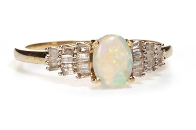 Lot 34-AN OPAL AND DIAMOND RING