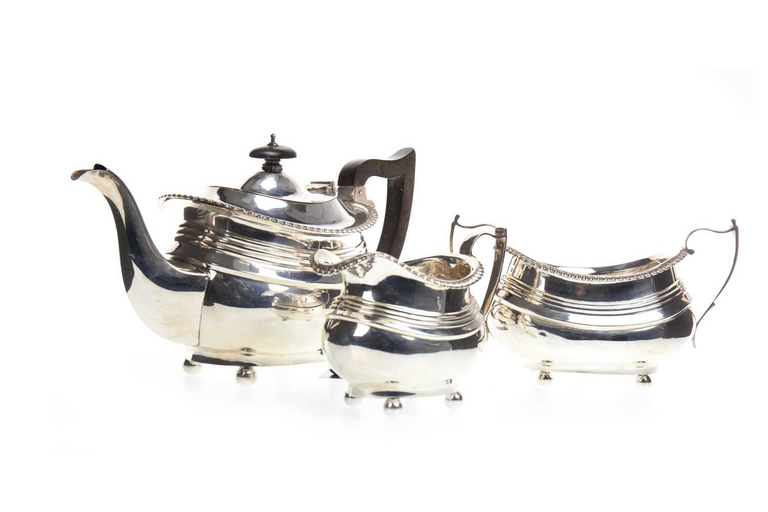Lot 815-A GEORGE V SILVER THREE PIECE TEA SERVICE