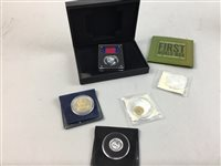 Lot 325 - A REPRODUCTION SILVER WATERLOO CAMPAIGN MEDAL AND COINS