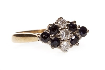 Lot 42-A BLUE GEM AND DIAMOND CLUSTER RING