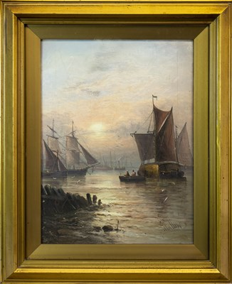 Lot 608-BOATS ON CALM WATERS, BY G CALLOW