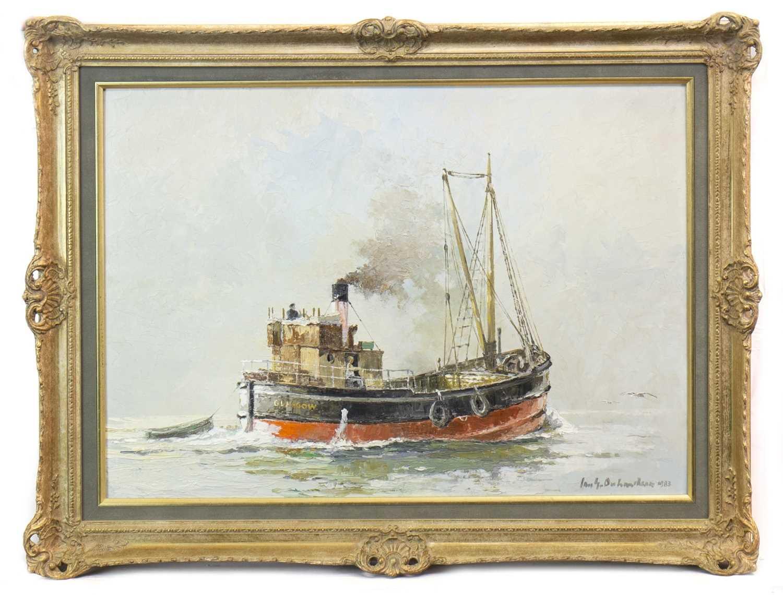 Lot 513-PUFFER 'CRETAN' IN CALM SEAS, AN OIL BY IAN ORCHARDSON