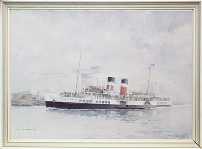 Lot 609-THE WAVERLEY PASSING BROWN'S SHIPYARD, A PRINT BY IAN ORCHARDSON