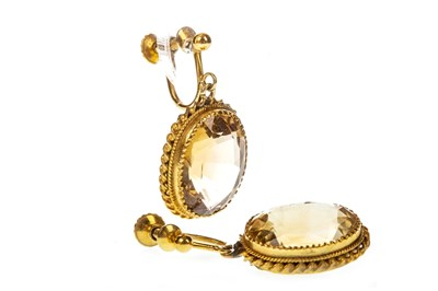 Lot 52-A PAIR OF LATE 19TH CENTURY CITRINE EARRINGS