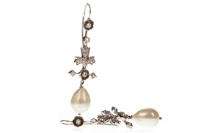 Lot 77-A PAIR OF LATE PEARL AND DIAMOND DROP EARRINGS