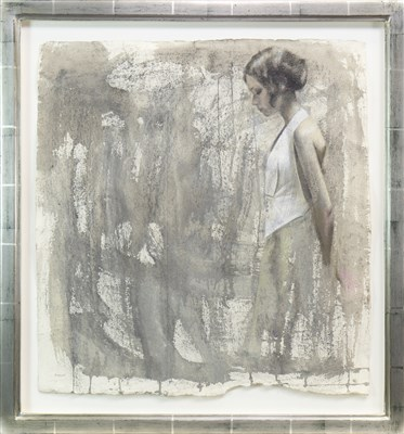 Lot 516-STUDY FOR READY AND WAITING, A MIXED MEDIA BY DENISE FINDLAY
