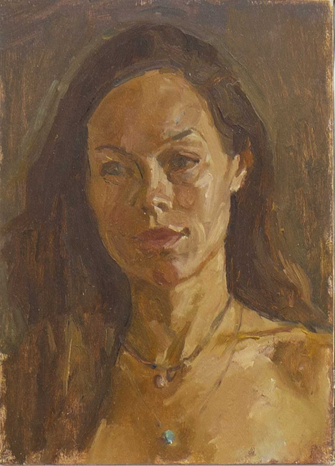 Lot 517-GIRL WITH TURUOISE PENDANT, AN OIL BY DAVID CALDWELL