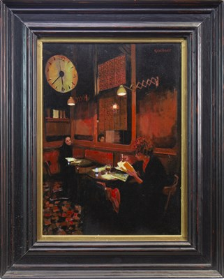 Lot 521-LITTLE RED INTERIOR, PARIS, AN OIL BY SANDY GARDNER