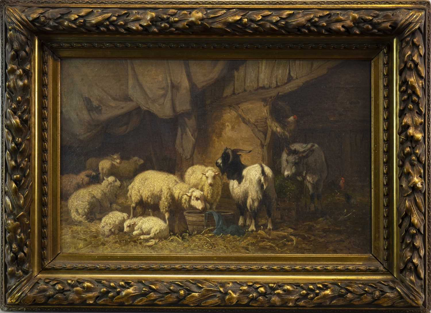 Lot 429-SHEEP, DONKEY AND GOAT IN A BARN, AN OIL BY LOUIS ROBBE