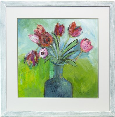 Lot 610-RED TULIPS, AN ACRYLIC BY LIZ MCCARTHY
