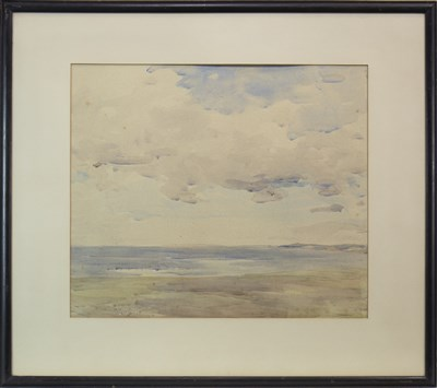 Lot 611-BEACH LANDSCAPE I, A WATERCOLOUR BY HARRY MACGREGOR