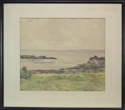 Lot 612-BEACH LANDSCAPE II, A WATERCOLOUR BY HARRY MACGREGOR