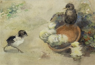 Lot 614-CHICKS, A WATERCOLOUR ATTRIBUTED TO NELLIE ELLEN HARVEY