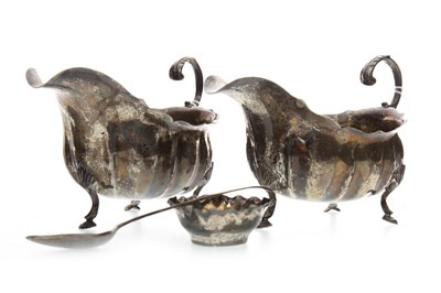 Lot 819-TWO SILVER SAUCE BOATS WITH TWO SILVER SPOONS AND A DISH