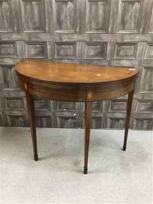 Lot 807-A REGENCY MAHOGANY TURNOVER SEMI CIRCULAR TABLE